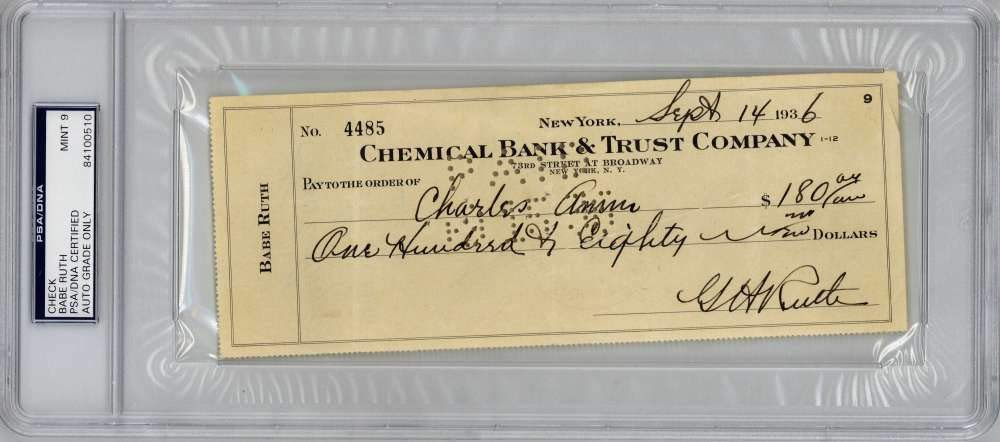 Babe Ruth Signed Autographed 1946 Hand Written Check PSA/DNA 9