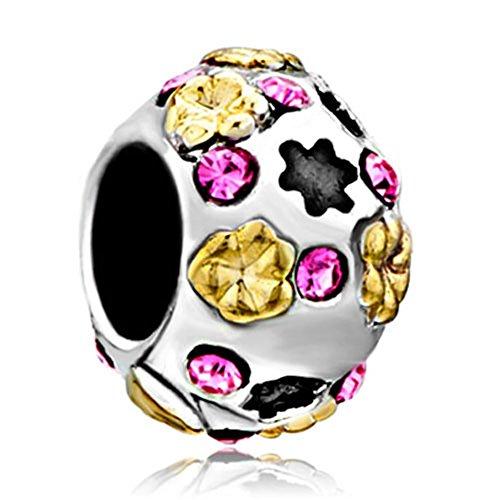 Pugster Flower Pink Swarovski Element Crystal Bead Fits Pandora Chamilia Biagi Charm Bracelet