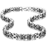 Impressive Mechanic Style Men's Necklace Stainless Steel Silver Chain, Width 8mm, Length 53cm