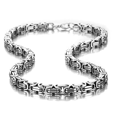 Urban jewelry impressive mechanic style mens necklace stainless urban jewelry impressive mechanic style mens necklace stainless steel silver chain width 8mm mozeypictures Image collections