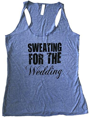 Friendly Oak Women's Sweating for the Wedding Tank top - L - Heather blue by Friendly Oak