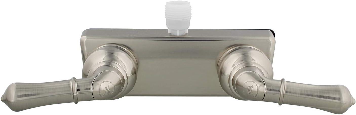 Empire Faucets RV Shower Valve Kit - 4 Inch Shower Diverter and Vacuum Breaker Unit Nickel Shower Valve Teapot Handles