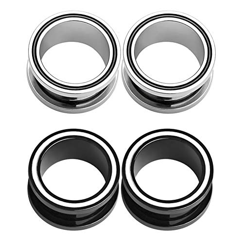 Alphapierce 4PCS Ear Tunnels Plugs Kit Surgical Steel Screw Fit Ear Gauges Expander Body Piercing Black and Silver Set 2g