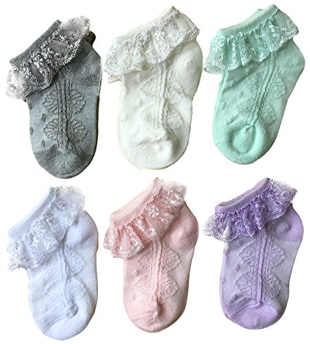 (Baby Girls' Eyelet Lace Socks QandSweet Ankle Sock for Newborn Infant Toddlers (4-6T, 6 Colors))