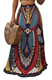 Pivaconis Womens Vintage Print Dashiki Africa Pleated Swing Long Beach Skirt Blue Small