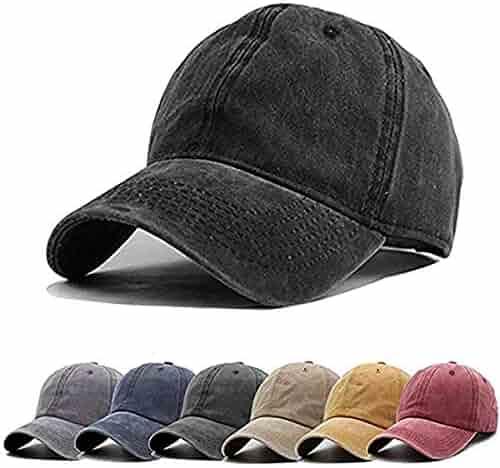 744a2daa Aedvoouer Men Women Baseball Cap Vintage Cotton Washed Distressed Hats  Twill Plain Adjustable Dad-Hat
