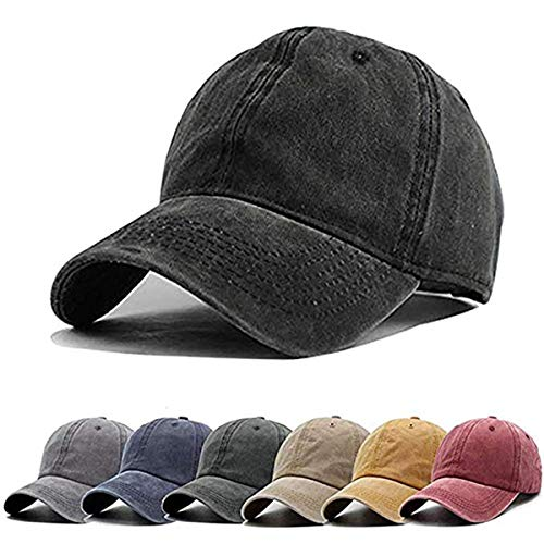 (Aedvoouer Men Women Baseball Cap Vintage Cotton Washed Distressed Hats Twill Plain Adjustable Dad-Hat (A-Black/2))
