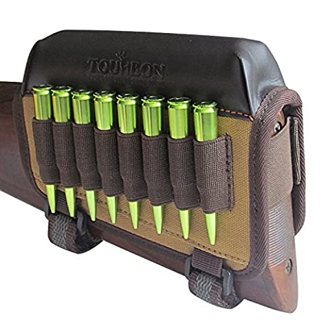Tourbon Hunting Gun Buttstock Cheek Rest Pad Rifle Ammo Holder Left Hand - Canvas and (Carrier Munizioni)