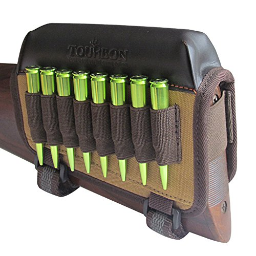 TOURBON Hunting Gun Buttstock Cheek Rest Pad Rifle Ammo Holder Left Hand - Canvas and Leather ()