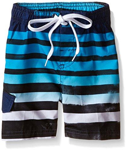 Kanu Surf Little Boys' Toddler Reflection Stripe Swim Trunk, Navy, 4T