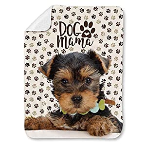 """NIWAHO Lovely Yorkshire Terrier Dog and Paws Themed Printed Super Soft Sherpa Blanket - Double-Deck Thickening Lambs Wool, Dog MOM Gift (31""""x47"""") 1"""