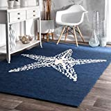 coastal living rooms OSD 3'x5' Navy Blue White Starfish Beach Sealife Printed Area Rug, Themed, Indoor Outdoor Coastal Pattern Living Room Rectangle Carpet, Soft Synthetic Modern Fancy Colorful Rich Textures