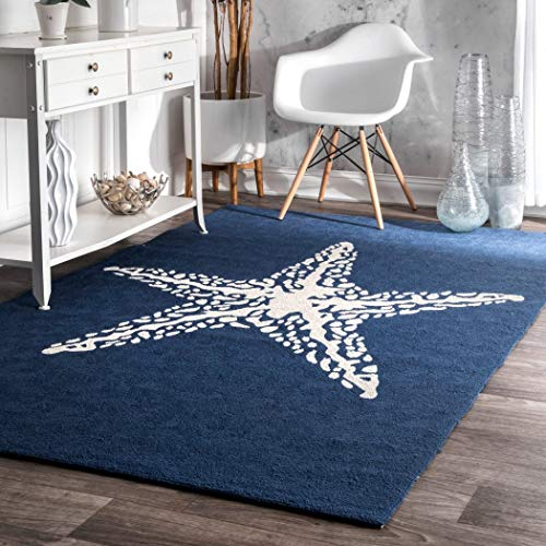 D&H 3'x5′ Navy Blue White Starfish Beach Sealife Printed Area Rug, Indoor Outdoor Coastal Pattern Living Room Rectangle Carpet, Graphic Art Themed, Soft Synthetic Modern Fancy Colorful Rich Textures For Sale