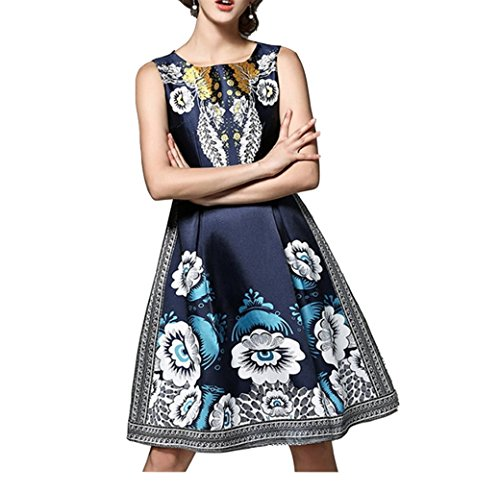 Damen Knielang Dunkelblau 50er Retro Sommerkleider Blume Vintage Kleider Cocktailkleid Elegante Abendkleid Dunkelblau Gedruckt Festlich Oudan 1wRfq1