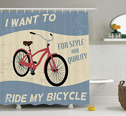 Dr-Drin 1960s Decorations Collection, Quality Bike Tour Joy Vintage Grunge Poster Style Quotes I Want to Ride My Bicycle Image, Polyester Fabric Bathroom Shower Curtain Set with Hooks, Blue White