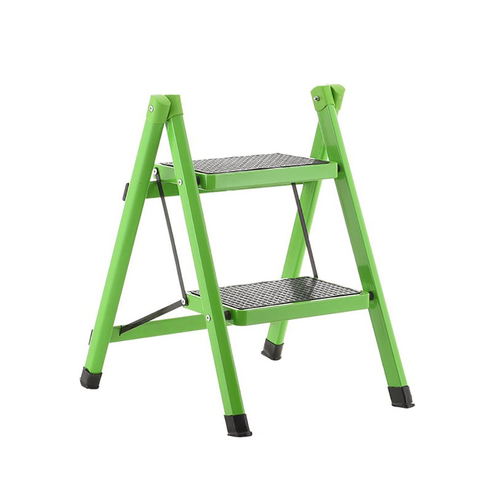 GREEN 2 tiers DNSJB Folding Step Stool Ladder for Adults Iron Kitchen Folding Stepladder with Non-Slip Treads (color   orange, Size   3 Tiers)