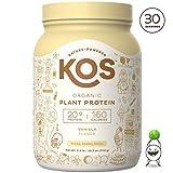 KOS Organic Plant Based Protein Powder - Raw Organic Vegan Protein Blend, 2LB 7.1 oz, 30 Servings (Vanilla)