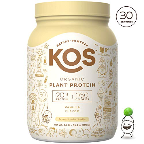 KOS Organic Plant Based Protein Powder - Raw Organic Vegan Protein Blend, 2LB 7.1 oz, 30 Servings (Vanilla)