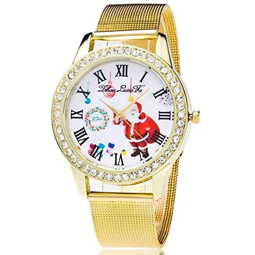 Santos Steel Watch - Lindsie-Box - Fashion Rhinestone Wristwatches Stainless Steel Gold Lovers Couple Watches Cartoon Santa Claus Watch Casual Clock Hour