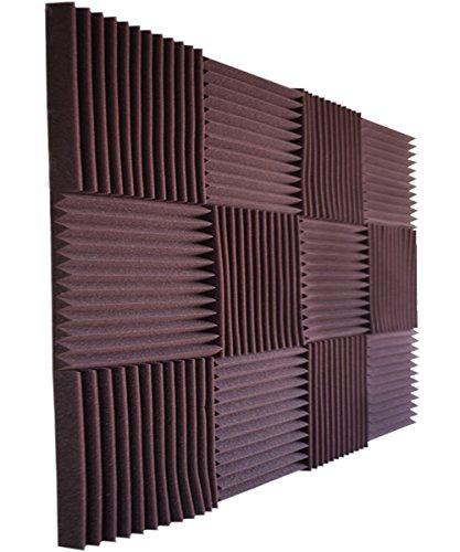 12 Pack- Burgundy/Charcoal Acoustic Panels Studio Foam Wedges 1' X 12' X 12'
