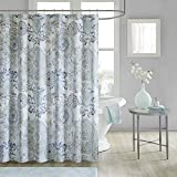 Madison Park Isla 100% Cotton Percale Floral Medallion Boho Printed Watercolor Cute Bathroom Shower Curtain, 72X72' Inches, Blue