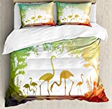 Ambesonne Africa Duvet Cover Set King Size, Modern Design Flamingo Figures in Digital Art with Polygonal Featured Shadow Effects, Decorative 3 Piece Bedding Set with 2 Pillow Shams, Multicolor