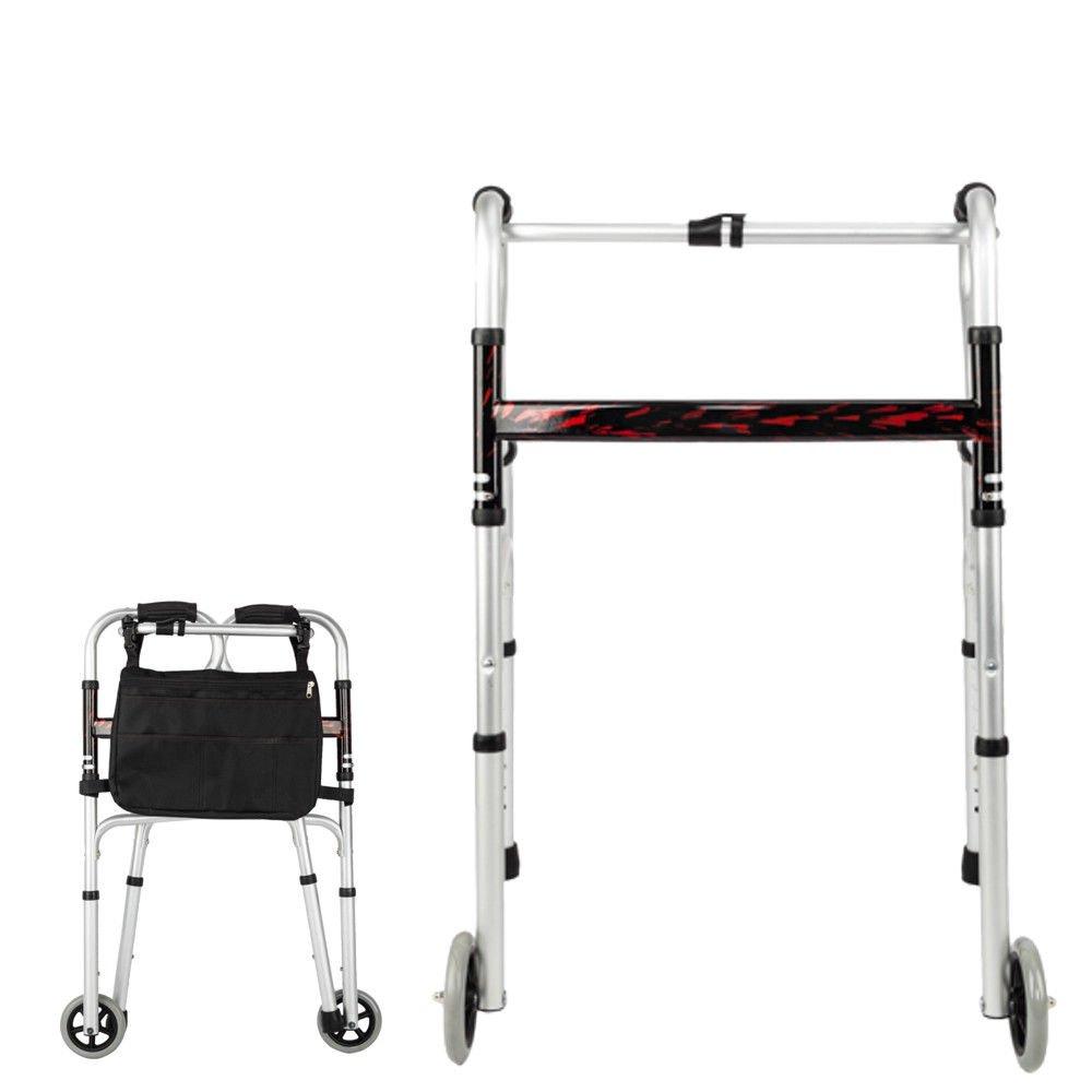 Adjustable Height Medical Walking Aid Walker with 5Inch Wheel Pocket by Caraya