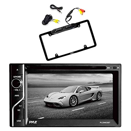 Pyle PLDN63BT 6.5'' 2-DIN in-Dash Touch Screen Bluetooth Receiver with Pyle PLCM16BP Car License Plate Frame Rear View Backup Camera