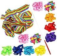 BESPORTBLE 12 Pcs 4M Gymnastics Rhythm Ribbon Premium Silk Gymnastic Streamer Colorful Dance Ribbon for Gym Da