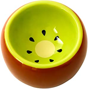 OMEM Hamster Bowl Ceramic Prevent Tipping Moving and Chewing Wonderful Food Dish for Small Rodents Gerbil Hamsters Mice Guinea Pig Cavy Hedgehog and Other Small Animals (Kiwi)
