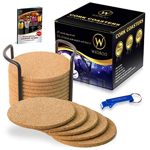 Cork Coasters Round for Drinks with Metal Holder