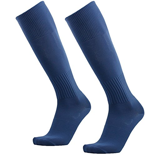 Sport Soccer Socks, 3street Womens Girls Knee-High Length Sport Athletic Comfort Football Baseball Running Tube Socks for School Uniform Denim Blue 2 Pairs
