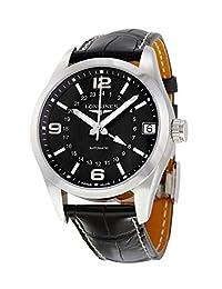 Longines Conquest Classic GMT Automatic Steel Mens Strap Watch Black Dial Calendar L2.799.4.56.5