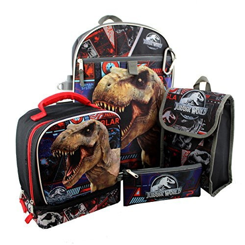 Jurassic World 6 piece Backpack and Lunch Box School Set (Black)
