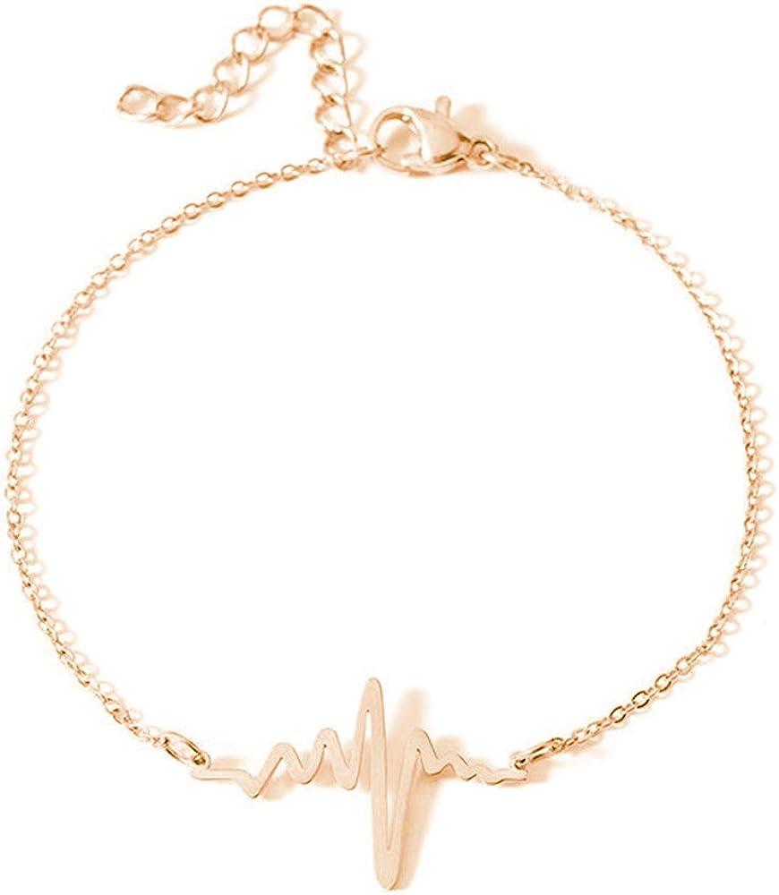 Smelly Cat Heartbeat Anklets EKG Cute Life Line Heartbeat Cardiogram Bracelets Anklets Gift for Women Girls