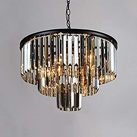 Amazon.com: LITFAD Smoke Crystal 3 Tiers Chandelier Modern ...