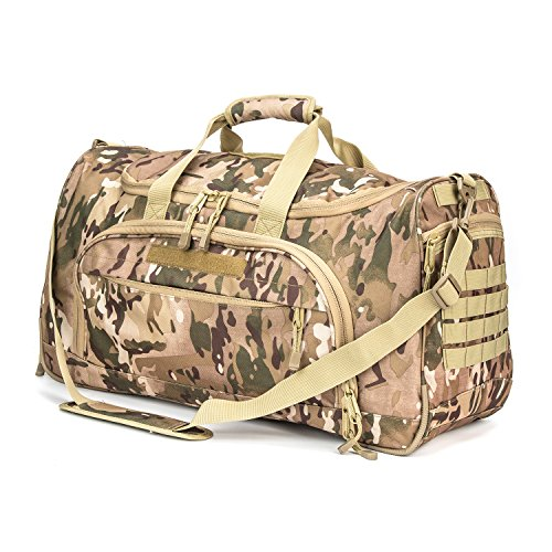 XWLSPORT Military Tactical Duffle Bag Travel Sports Bag Outdoor Gym Bag Army Carry On Bag Lightweight Duffel Bag Great for Travel Camping Hiking Gym or Other Outdoor Activities (Multicam-B)
