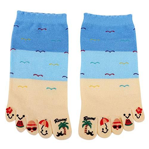 Pausseo Unisex Men Women Cute Five Fingers Anti Slip Cotton Socks Comfortable Soft Comfortable Skateboard Cotton Stockings Soft Sweat Deodorant Anti-Slip Girls Bed Sleep Skateboard Casual Sock