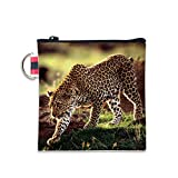 Leopard Cheetah Canvas Coin Purse Cash Bag Small Zipper Purse Wallets Mini Money Bag Change Pouch Key Holder Double Sides Printing
