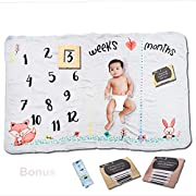 Large Premium Fleece Monthly Milestone Blanket for Baby + Infant Photography Prop for Boys & Girls - Unique Shower Gift - Baby & Mommy Milestone Cards + Tape Measure Prop Bonus - Woodland Animals