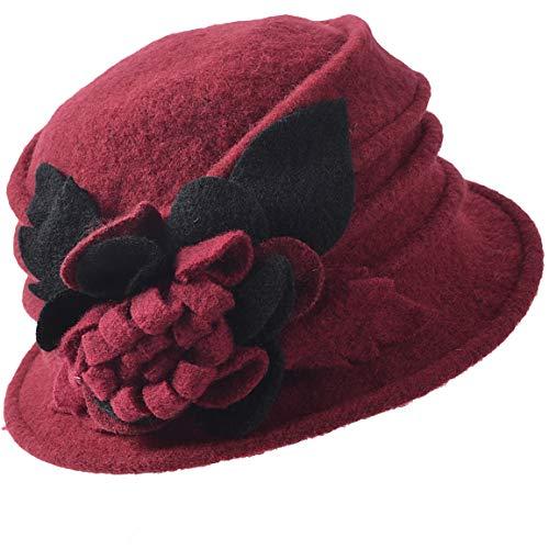 (FORBUSITE Lady Floral Trimmed Wool Blend Winter Hat Burgundy)
