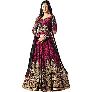 51tMRFjLnKL. SS320 Fast Fashions Women's Taffeta Silk Semi Stitched Anarkali Gown (Free Size)