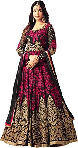 51tMRFjLnKL Fast Fashions Women's Taffeta Silk Semi Stitched Anarkali Gown (Free Size)