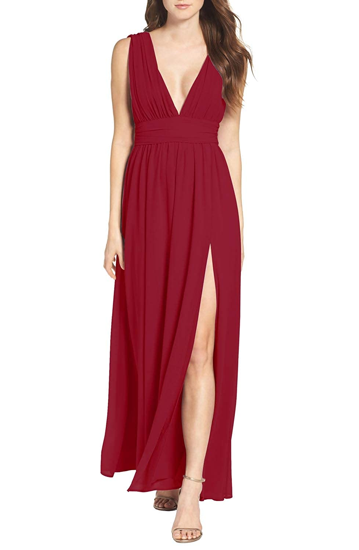 Dark Red PrettyTatum Deep V Neckline High Side Slit Long Prom Dress Bridesmaid Beach Maxi Ballgown