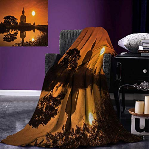 smallbeefly Asian Digital Printing Blanket Big Giant Statue The River at Sunset Thai Asian Culture Scene Yin Yang Print Summer Quilt Comforter 80''x60'' Burnt Orange by smallbeefly