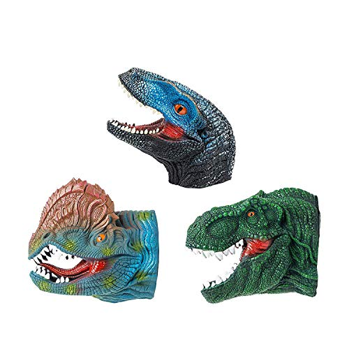 KIDAMI Dinosaur Puppets Hand Puppet Toys Set Rubber Soft Touch Realistic for Kids and Adult. (3 Packs)
