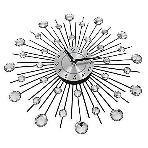 Decorative Crystal Sunburst Large Wall Clock, Luxury Modern Metal 3D Wall Clock Silent for Home Art Decor Office Decorations Gift Diameter 13 inch