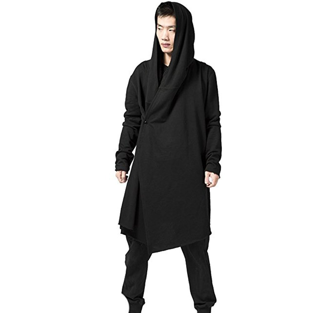 3880502fce46a3 YOU JIE PING Men s Black Long Hooded Cardigan Large Cape Cloak Coat (US  L Asian 2XL)   Maternity   Clothing
