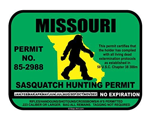 Missouri Sasquatch Hunting Permit License Bigfoot Vinyl Sticker Decal