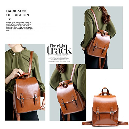 Yoome Travel wax Oil Vintage Backpack School Women Leather Khaki Multifunction For Bga Girls Purse Bag w7gwxq5